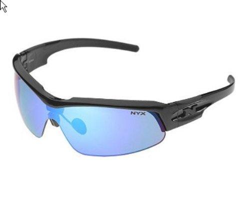 NYX Pro Z-17 Sunglasses (Black Frame Silver Logo, Arctic Blue - Logo Lens