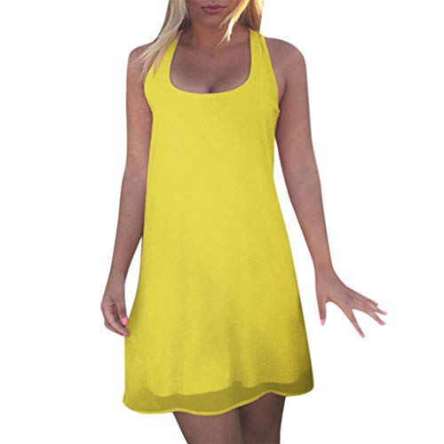 Womens Dress Brief Casual Skinny Strap Chemise Solid Loose Back Tie Bow Sling Mini Sundress (Yellow, L)