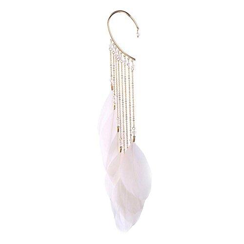 NOVMAY 1 Pcs Womens Elegance Tassel Feather Long Ear Wrap Charm Cuff Earring Non Pierced Drop Dangle Earrings for Women Girls (Beige)