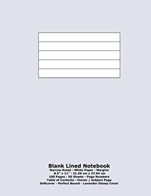 Blank Lined Notebook Narrow Ruled