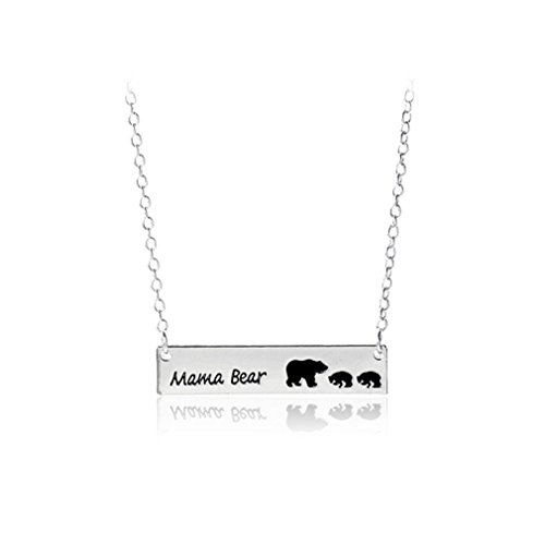 GUAngqi Cute Family Love Mama and Baby Bear Necklace Bar Necklace Mother's Day Gift Sweet Gift for Mom,Silver two bears,As description