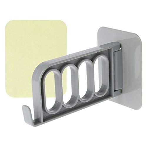 MOPOLIS Wall Mount Foldable Clothes Hanger Organizer 4 Hole Hook Holder Self-Adhesive (Color - Gray)