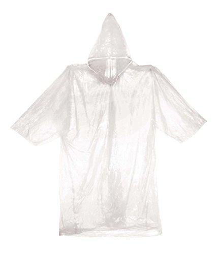 Price comparison product image Clear Emergency Rain Poncho Coat Rainwear w / Hood & Sleeve