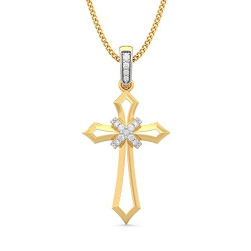 14K Or jaune 0,14CT TW Round-cut-diamond (IJ | SI) Pendentif