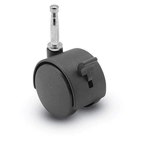 Shepherd Source II Series 50mm Diameter Nylon Hooded Twin Wheel Caster with Brake, 5/16
