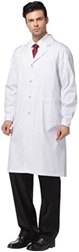 Nideen White Lab Coats Doctor Workwear - Unisex Lab Coat Scrubs for Woman and Man