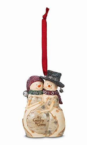 Pavilion Gift Company The Birchhearts 81102 Snowman Couple Expecting Figurine, A Great Joy, 4-Inch (Mother Expecting Ornament)