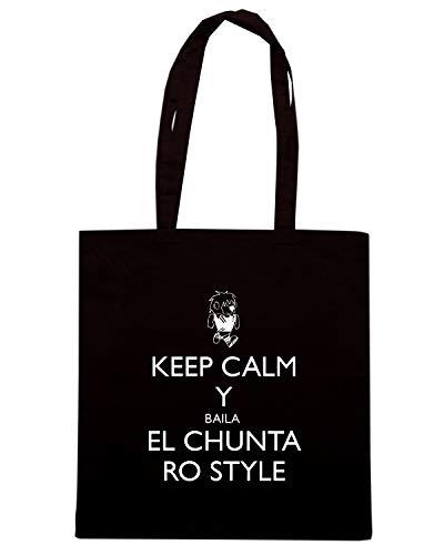 Speed Shirt Borsa Shopper Nera TKC3293 KEEP CALM Y BAILA EL CHUNTA RO STYLE