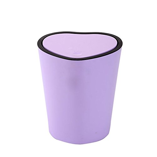 Trash can Creative Heart-Shaped Bathroom with Cover Household Toilet Kitchen Office Paper with Lid Trash Can Multi-Color Optional (Color : Purple)