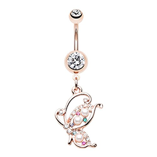 Inspiration Dezigns Belly Button Navel Ring Rose Gold Madame Mariposa Butterfly 14G (Madame Butterfly Setting)