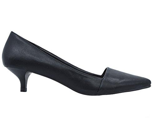 Greatonu Scarpe Da Donna Eleganti Formali Classiche Gonne A Tacco Medio Con Gonnellino Nero Pompe Pu