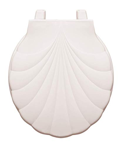 Centoco HP30SLC-001 Sea Shell Design Round Plastic Toilet Seat with Lift & Clean, White (Design Sea Shell)