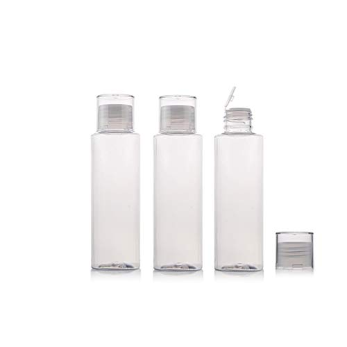 6PCS 100ml/3.4oz Empty Refillable Clear Plastic Bottle Vial Jar Cosmetic Container Travel Packaging with Orifice Reducer and Screw Lid for Lotion Emulsion Toner Essential Oil Shower Gel Shampoo