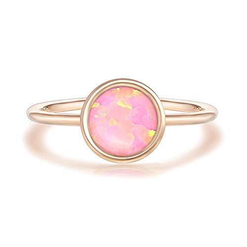 PAVOI 14K Rose Gold Plated Stackable Ring Created White Opal Stacking Ring ()