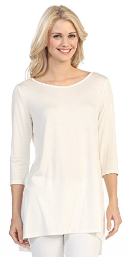 Women's Solid Color Boat Neck 3/4 Sleeve Pullover Long Tee Shirt Top (Medium, Ivory)