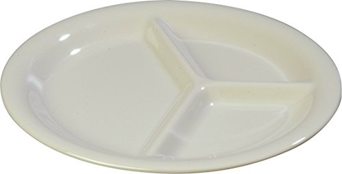 (Carlisle 4300042 Durus Narrow Rim Melamine 3-Compartment Divided Plate, 10.5