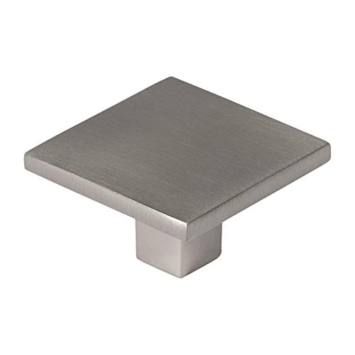Square Flat Top Cabinet Knob - Starview Collection - Brushed Satin Nickel - 25 Pack