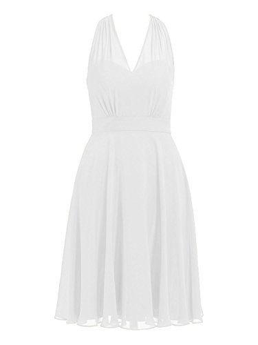 (Cdress Halter Short Bridesmaid Dresses Chiffon Prom Homecoming Dress V-Neck Party Cocktail Gowns US 20W White)