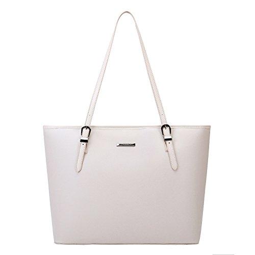 (ECOSUSI Women's Top Handle Handbags Purse Tote Shoulder Bag, Beige)