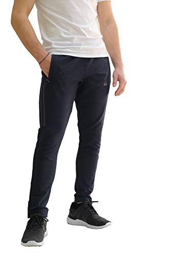 SCR SPORTSWEAR Athletic Jogging Pants Soccer Training Sweatpants Tall Slim Long Inseam (Large-30 Inseam, Midnight Black/Platinum Grey)