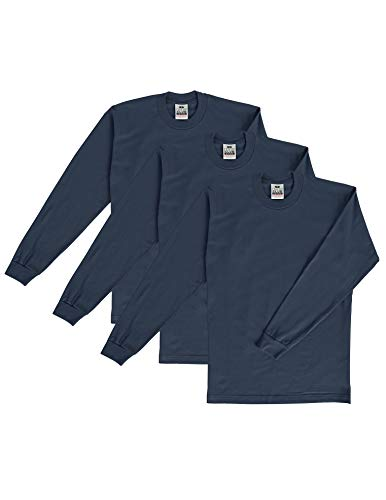 Heavyweight Cotton Shirt - Pro Club Men's 3-Pack Heavyweight Cotton Long Sleeve Crew Neck T-Shirt, Navy, X-Large