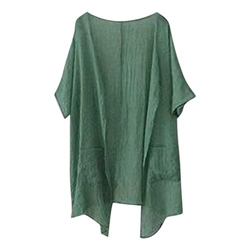 ALLYOUNG Women's Open Front Cardigan Waterfall Casual Shirt Tops Cover Ups Comfortable Blouse Green