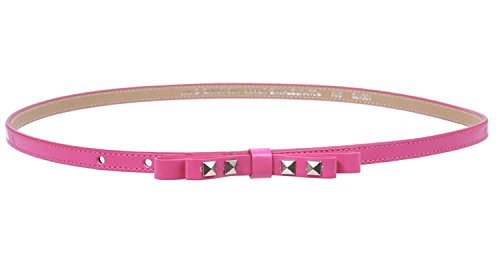 (MONIQUE Women Skinny Pyramids Studded Bow Patent Manmade Fashion 10mm Belt,Hot Pink M/L - 36)
