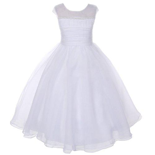 Kids Dream White Pearl Satin Organza Communion Dress Girl 10 (Designer Communion Dresses)