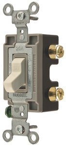 20A 120/277V Ivory 3-Way Commercial Grade Toggle (Integral Toggle)