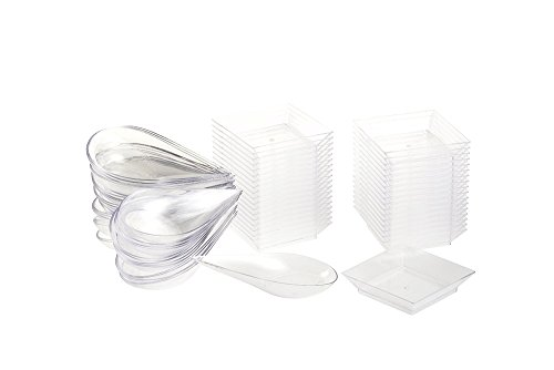 Mini Set Meal (72-Piece Appetizer Plates Set - Disposable Tear Drop Appetizer Spoons and Mini Square Plastic Plates, 36 Each, for Desserts, Tasting Samples, Delicacies and More - Clear)