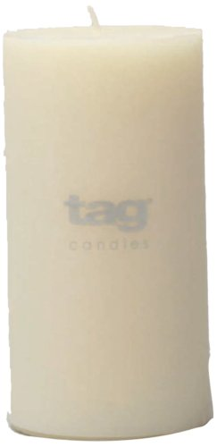 Tag 100065 3-Inch by 6-Inch Unscented Long Burning Pillar Candle, (Pillar Candle Tag)