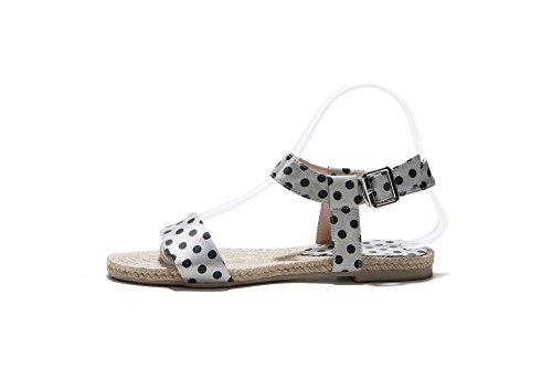 Color Heel Material Assorted WeenFashion Sandals Open Women's Gray Soft Buckle Toe No p71UqRw