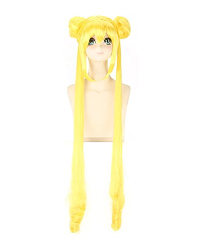 DAZCOS 120cm Adult/Girls Sailor Tsukino Usagi Fighting Halloween Cosplay Wig (Yellow)