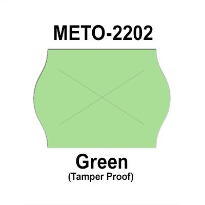 189,000 Meto 2202 compatible Green General Purpose Labels for Meto 13.22, Meto 15.22 Price Guns. Full Case + 12 ink rollers. WITH Security Cuts.