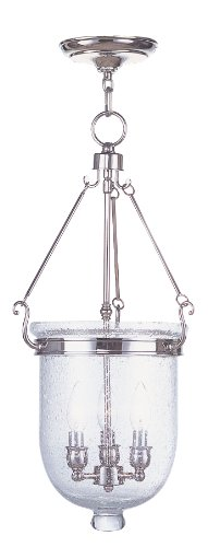 Livex Lighting 5084-35 Jefferson 3-Light Hanging Lantern, Polished Nickel