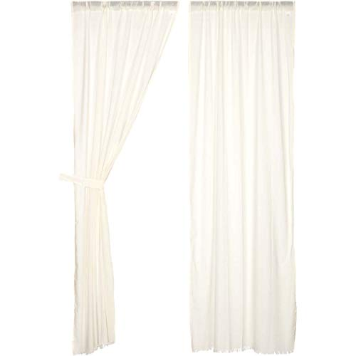 VHC Brands Coastal Farmhouse Window Tobacco Cloth White Fringed Curtain Panel Pair, of of King, Antique