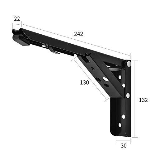 elegantstunning Stainless Steel Foldable Triangular Support Large Load Bearing Bracket Holder for Wall Storage Rack Paint Black -10 inch