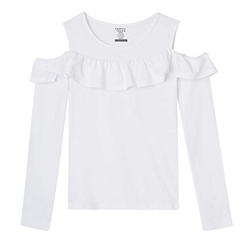 French Toast Girls' Big Long Sleeve Cold Shoulder Top, White XL ()