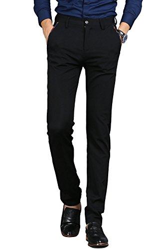 (VEGORRS Men's Wrinkle-Free Slim Fit Dress Pants Stretch Casual Suit Pant Trousers for Men, Black Pants Size 34)