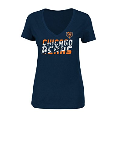 NFL Chicago Bears Women's Short Sleeve V-Neck Tee, Large, Navy