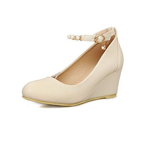 BalaMasa da donna massiccio kitten-heels round-toe catena fibbia in metallo gomma pumps-shoes, Beige (Beige), 35