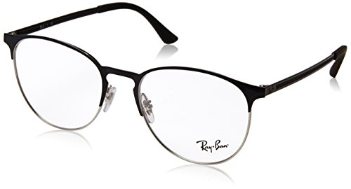 Ray-Ban RX6375 Round Metal Eyeglass Frames, Black On Silver/Demo Lens, 53 mm (Ray-bans Rx)
