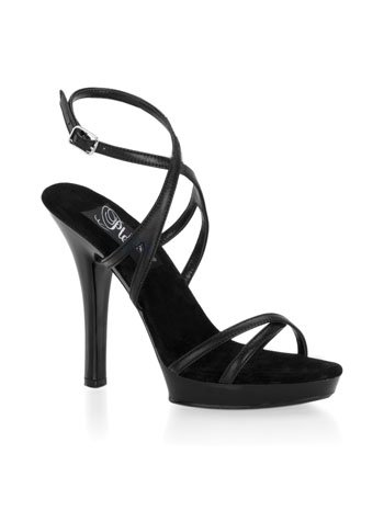 Amazon.com | Black Leather Strappy High Heel Sandal - 5 | Heeled ...