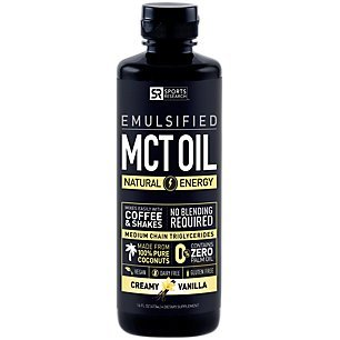 Sports Research Emulsified Mct Oil Supporting Energy And Healthy Metabolism - 100% Coconut Sourced (Creamy Vanilla)