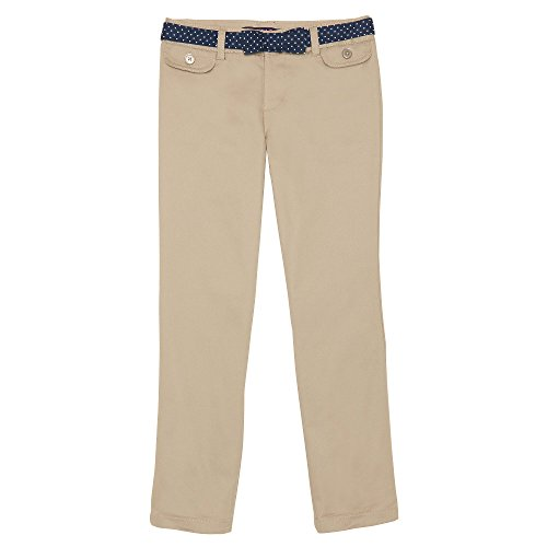 Girls Belted Twill Pants (French Toast Little Girls' Polka Dot Straight Leg Belted Pant, Khaki, 5)