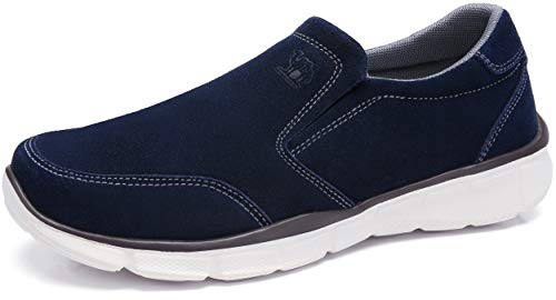 CAMEL CROWN Mens Leather Loafer Comfortable Sneakers Lightweight Slip On Walking Shoes Casual House Shoes Slippers for Men Navy Blue Size 10.5