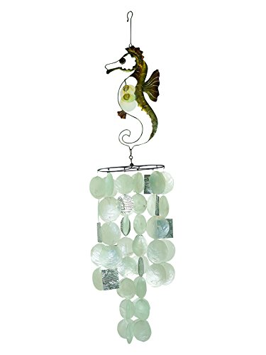 In the Breeze 7013 Capiz Decorative Wind Chime, Seahorse