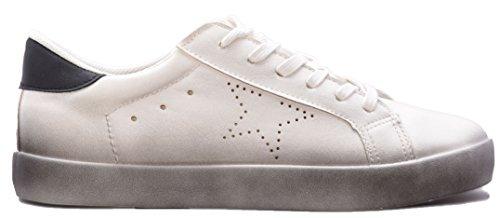 Altamoda Rebajas Zapatillas Bajas de Mujer Blancas con Suela Difuminada.