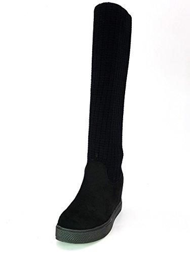 melissa Shoes Scarpe Stivali Stivaletti Donna Ragazza Moda Comoda New Tacco Basso TG 37 Colore Nera Tessuto Finto Camoscio Caviglia in lanettina Elastica