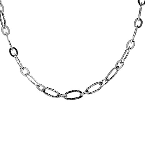 (Sterling Silver Hammered Oval Link 24 Inches Chain Necklace)